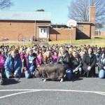 School leaders smooch pigs for fundraiser